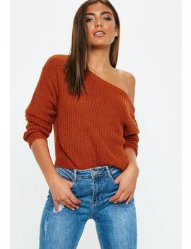 Rust Crop Off Shoulder Knitted Jumper by Missguided