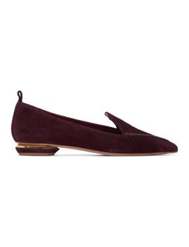 Burgundy Suede Beya Loafers by Nicholas Kirkwood