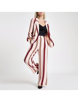 Petite Pink Stripe Wide Leg Trousers by River Island