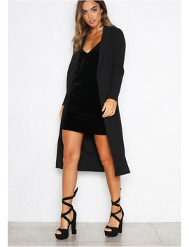 Diara Black Longline Duster Jacket by Missy Empire