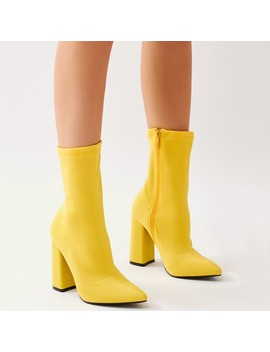 Boss Sock Fit Ankle Boots In Yellow by Public Desire