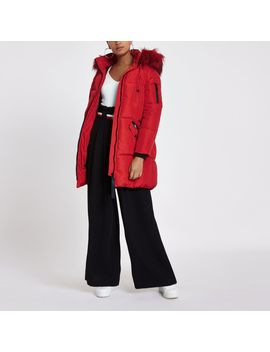 Red Faux Fur Trim Longline Puffer Jacket by River Island