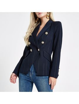 Petite Navy Stripe Double Breasted Tux Blazer by River Island