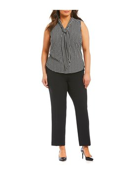 Plus Solid Crepe Slim Pant by Generic