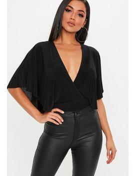 Black Cape Wrapover Slinky Bodysuit by Missguided