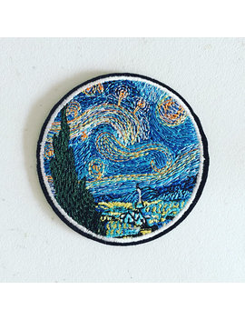 Van Gogh Impressionist Art Patch, Starry Night Iron On Patch, Van Gogh Art Badge, Art Applique, Embroidered Applique, Art Lover Gift by Kindersticker