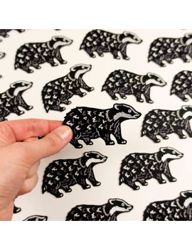 Badger Patch / Embroidered Badger Patch / Embroidered Patch / Cute Patch / Animal Patch / Patch For Jacket by Darwin Designs Cards