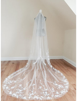 Floral Wedding Veil, White Veil, One Tier Flower Veil, Custom Veil, One Tier Veil, Cathedral Wedding Veil by Lt Couture Atelier