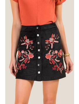 Nichelle Embroidered Snap Front Skirt by Francesca's