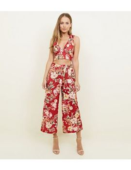 Red Floral Belted Wide Leg Party Trousers by New Look