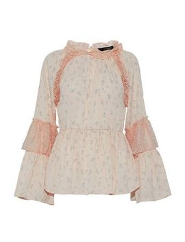 Lace Paneled Ruffled Floral Print Crepe De Chine Blouse by W118 By Walter Baker