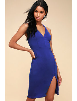 Aglow Royal Blue Bodycon Midi Dress by Lulu's