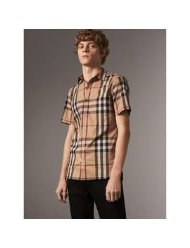 Short Sleeved Check Stretch Cotton Shirt by Burberry