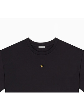 """T Shirt, """"Bee"""" Embroidered In Gold Thread, Black Cotton by Dior"""