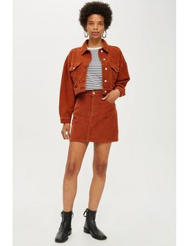 Red Corduroy Jacket And Skirt Set by Topshop