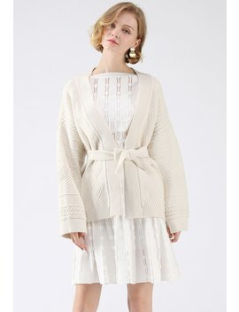 Tenderly Warm Cable Knit Cardigan In Cream by Chicwish