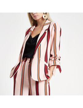 Petite Pink Striped Ruched Sleeve Blazer                                    Petite Pink Stripe Wide Leg Trousers by River Island