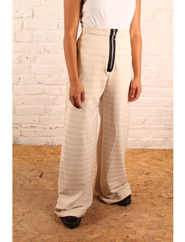 The Ragged Priest High Waisted Zip Front Cream Cotton Trouser With Faint Stripes by The Ragged Priest