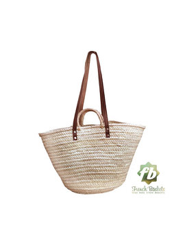 Straw Bag  French Basket Beach Bag Moroccan Basket French Market Basket   Natural Basket Double Handle Flat Leather And Rope by Frenchbaskets