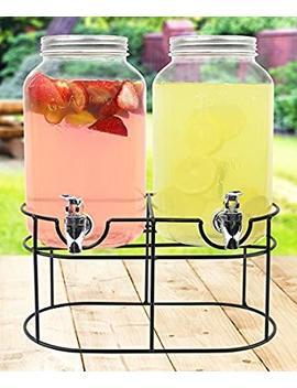 Estilo Est2760 Glass Mason Jar Double Beverage Drink Dispenser On Metal Stand With Leak Free Spigot, Clear, 1 Gallon by Amazon