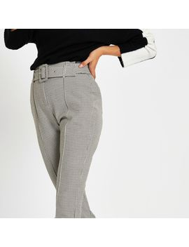 Grey Check High Waisted Fitted Trousers by River Island
