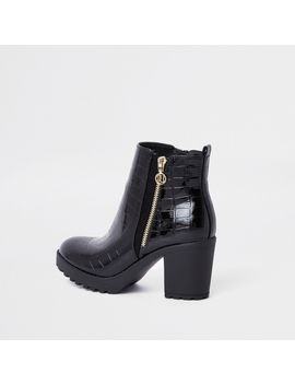Black Chunky Croc Embossed Ankle Boots by River Island