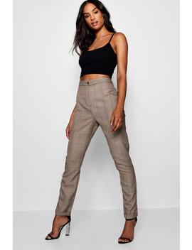 Tall Checked Woven Tapered Trousers by Boohoo