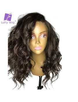 Luffy Glueless 13x6 Front Lace Wigs Human Hair With Baby Hair Wavy Peruvian Non Remy Pre Plucked Natural Black For Women 150 Percents by Luffy
