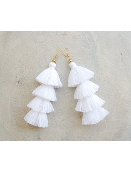 Pure White Four Layered Tassel Earrings by Siam Hill Tribes