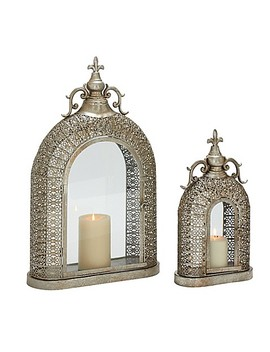 Ridge Road Décor 2 Piece Arch Iron Candle Lantern Set In Silver by Bed Bath And Beyond