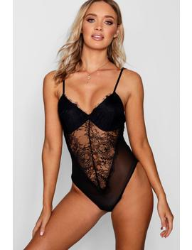 Lace Panel Plunge Bodysuit by Boohoo