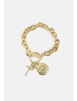 Gold Look Chunky Charm Wristwear by Missguided