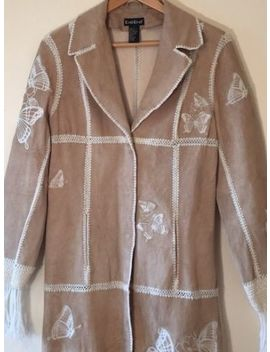 Bebe Leather Suede Embroidered Butterflies Yarn Fringe Long Coat Trench Jacket M by Bebe
