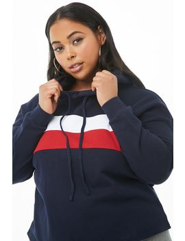 Plus Size Oversized Striped Hoodie by Forever 21
