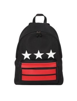 Men's Black White Stars Neoprene Backpack By by Givenchy