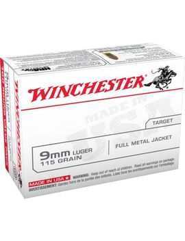 Winchester Usa Full Metal Jacket 9mm 100 Round 115 Grain Handgun Ammunition by Winchester