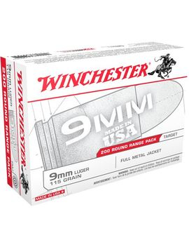Winchester 9mm 115 Grain Fmj 200 Round Centerfire Pistol Ammunition by Winchester