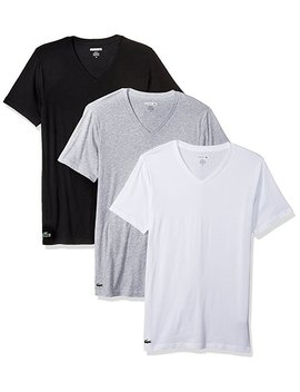 Lacoste Mens Standard 3pk Supima Cotton Slim Fit Vneck Tee by Amazon