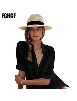 Fghgf Women Silk Wide Brim Panama Straw Hat Fedora Beach Sun Hat Upf50+ Sun Floppy Summer Boater Hat Kentucky Derby Vocation Hat by Fghgf
