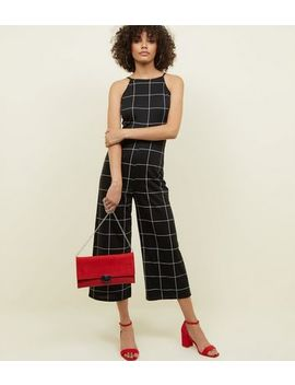 Black Check High Neck Culotte Jumpsuit by New Look