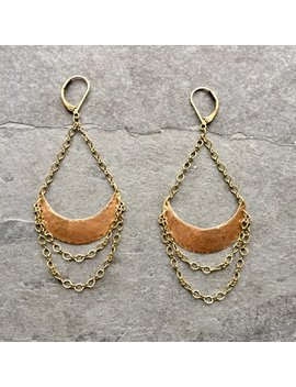 Chandelier Crescent  Bali Style Dangle Earrings by Laura B Elements