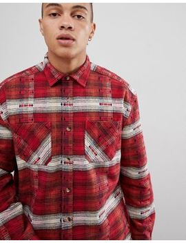 Asos Design Oversized Check Shirt With Aztec Design In Red by Asos Design