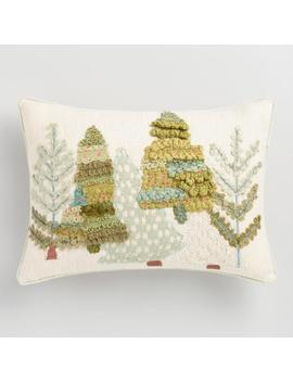 Embroidered Pine Trees Lumbar Pillow by World Market