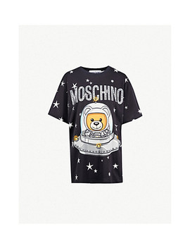 Bear Spaceship Print Cotton Jersey T Shirt by Moschino
