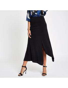 Black Jersey Midi Skirt by River Island