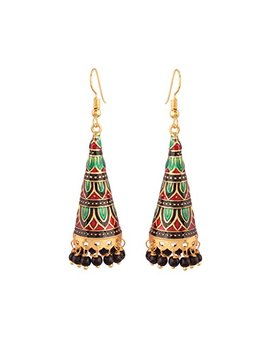 I Jewels Jhumkas With Meenakari Work For Women E2539 Mg by I Jewels