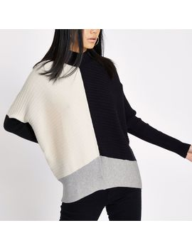 Black Ribbed Knit Colour Block Jumper by River Island