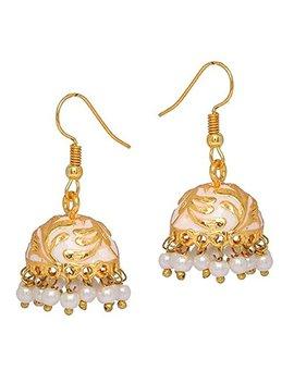 The Trendy Trendz Jaipur Meenakari Gold Plated Hand Painted Jhumki Earrings For Women And Girls by The Trendy Trendz