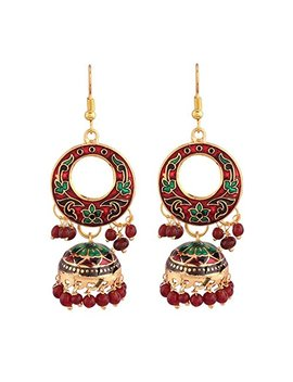 The Trendy Trendz Jaipur Meenakari Gold Plated Hand Painted Big Jhumki   Bali Earrings For Women And Girls(Dg03) by The Trendy Trendz