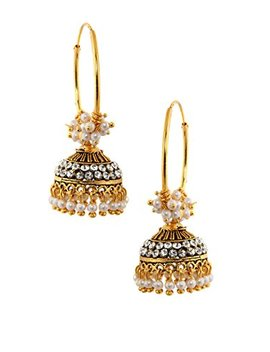 Rubans Gold Toned Traditional Indian Jewelry Bollywood Ethnic Wedding Bridal Pearl Jhumka Earrings For Women by Rubans